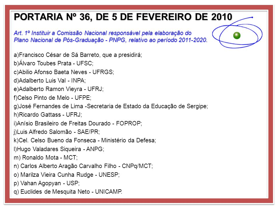 PORTARIA Nº 36, DE 5 DE FEVEREIRO DE 2010