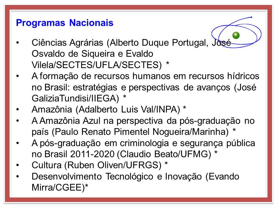 Programas Nacionais Ciências Agrárias (Alberto Duque Portugal, José Osvaldo de Siqueira e Evaldo Vilela/SECTES/UFLA/SECTES) *
