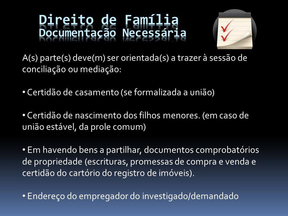 Direito de Família Documentação Necessária