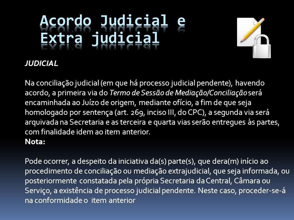 Acordo Judicial e Extra judicial JUDICIAL