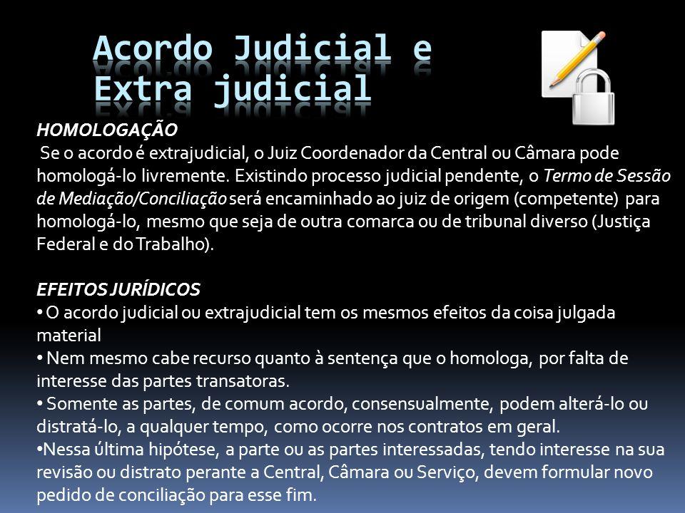 Acordo Judicial e Extra judicial HOMOLOGAÇÃO