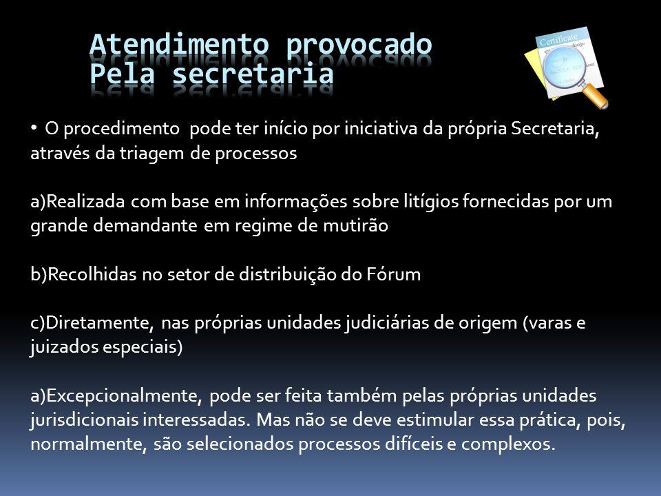 Atendimento provocado Pela secretaria