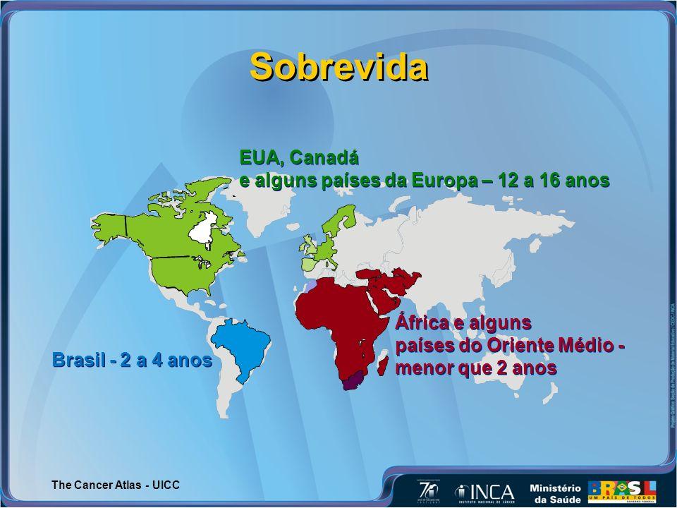 Sobrevida EUA, Canadá e alguns países da Europa – 12 a 16 anos
