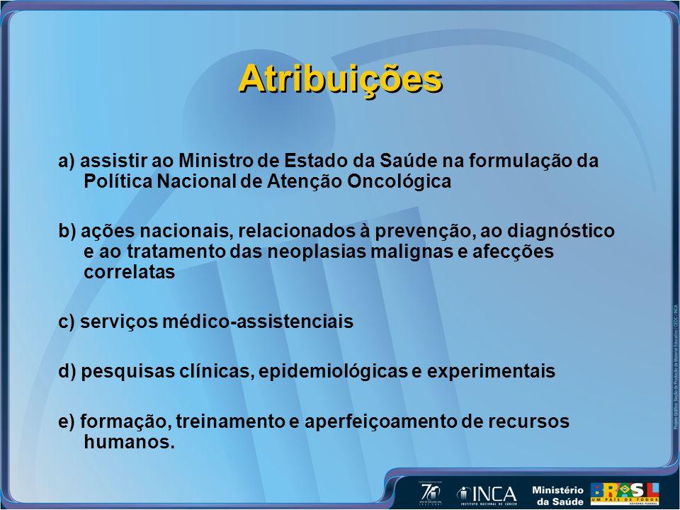 Atribuições a) assistir ao Ministro de Estado da Saúde na formulação da Política Nacional de Atenção Oncológica.