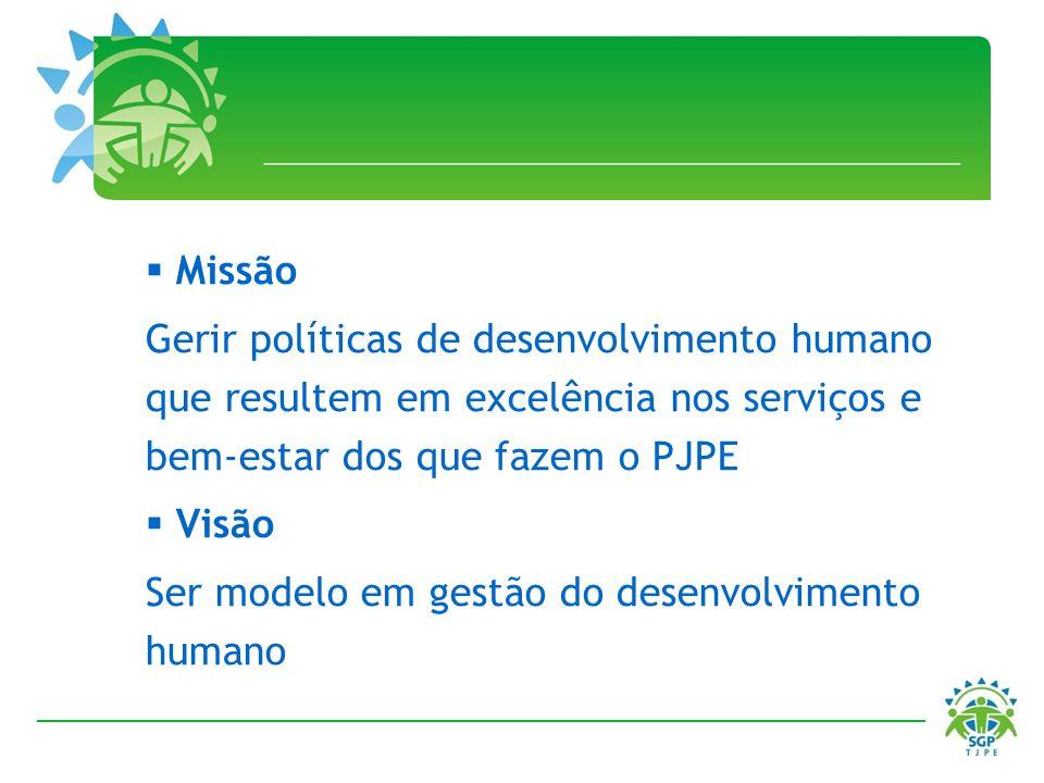 Missão Gerir políticas de desenvolvimento humano que resultem em excelência nos serviços e bem-estar dos que fazem o PJPE.