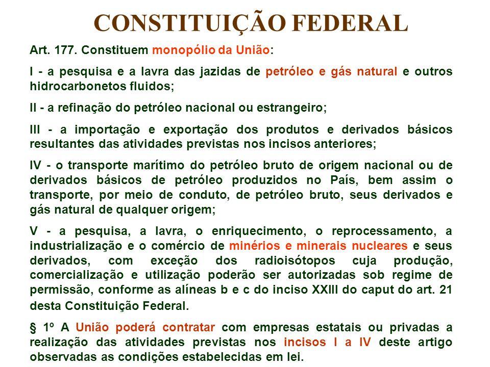 CONSTITUIÇÃO FEDERAL Art. 177. Constituem monopólio da União:
