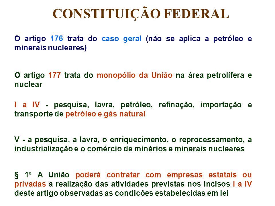 CONSTITUIÇÃO FEDERAL O artigo 176 trata do caso geral (não se aplica a petróleo e minerais nucleares)