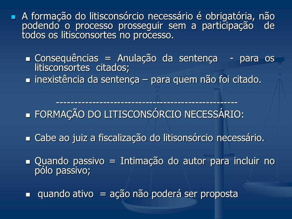 A formação do litisconsórcio necessário é obrigatória, não podendo o processo prosseguir sem a participação de todos os litisconsortes no processo.