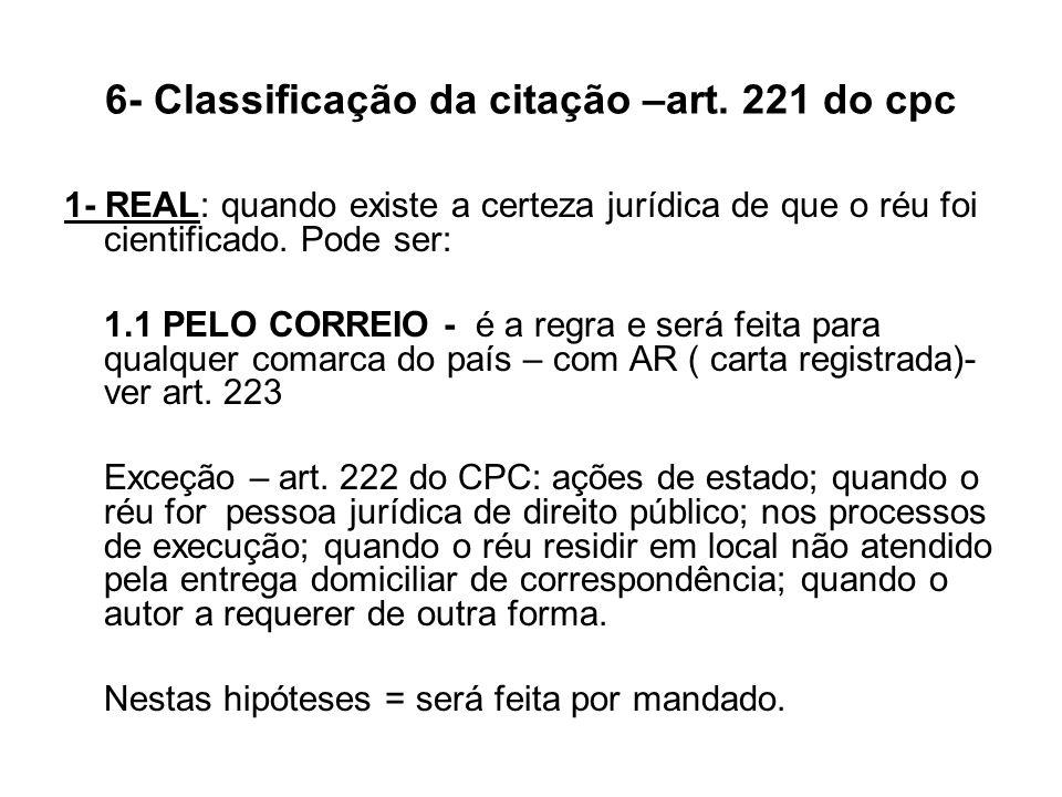 6- Classificação da citação –art. 221 do cpc