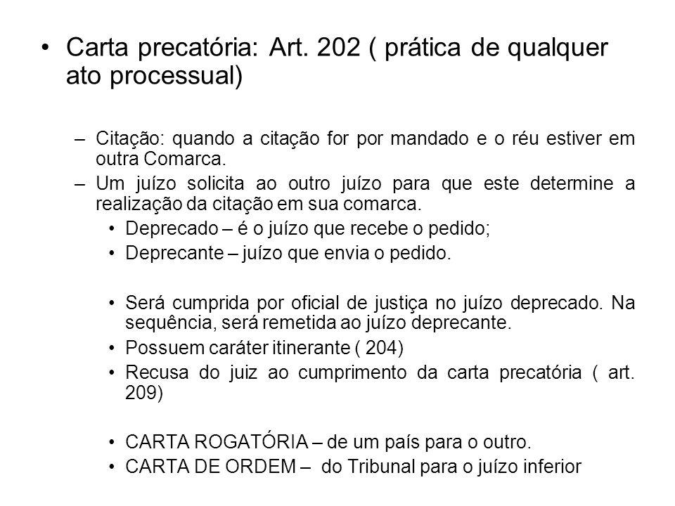 Carta precatória: Art. 202 ( prática de qualquer ato processual)