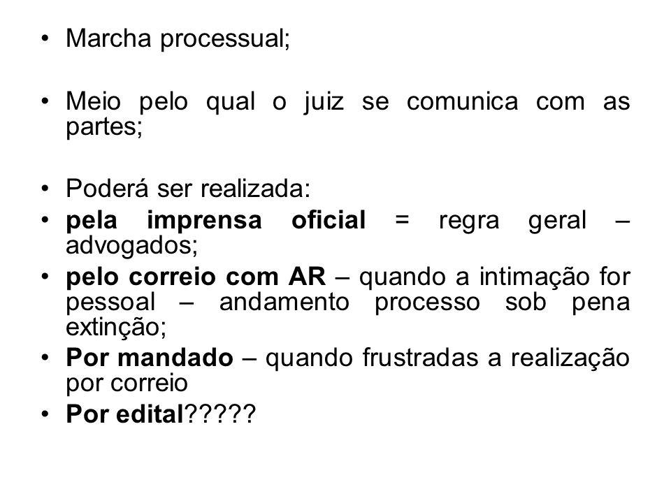Marcha processual; Meio pelo qual o juiz se comunica com as partes; Poderá ser realizada: pela imprensa oficial = regra geral – advogados;