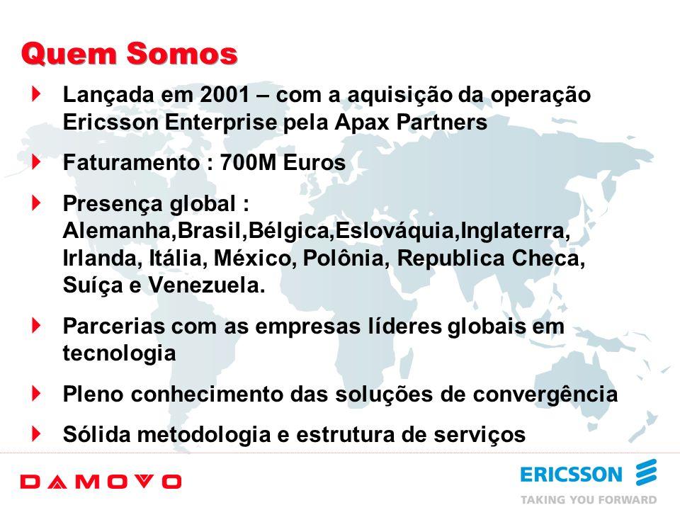 Quem Somos Lançada em 2001 – com a aquisição da operação Ericsson Enterprise pela Apax Partners. Faturamento : 700M Euros.