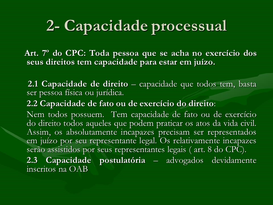 2- Capacidade processual