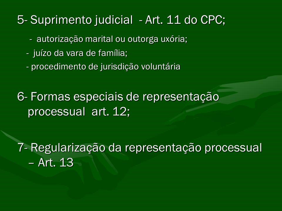 5- Suprimento judicial - Art. 11 do CPC;