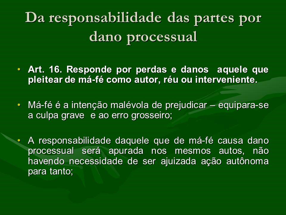 Da responsabilidade das partes por dano processual