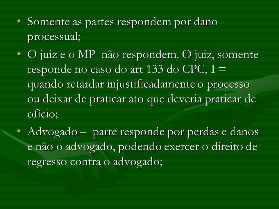 Somente as partes respondem por dano processual;