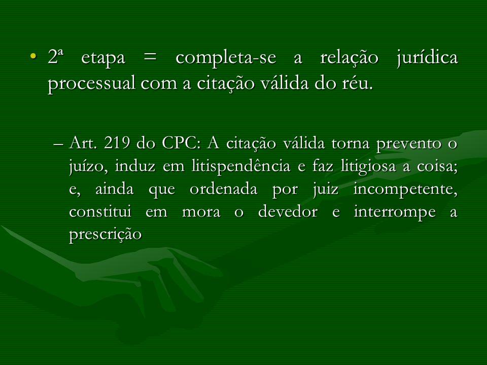 2ª etapa = completa-se a relação jurídica processual com a citação válida do réu.