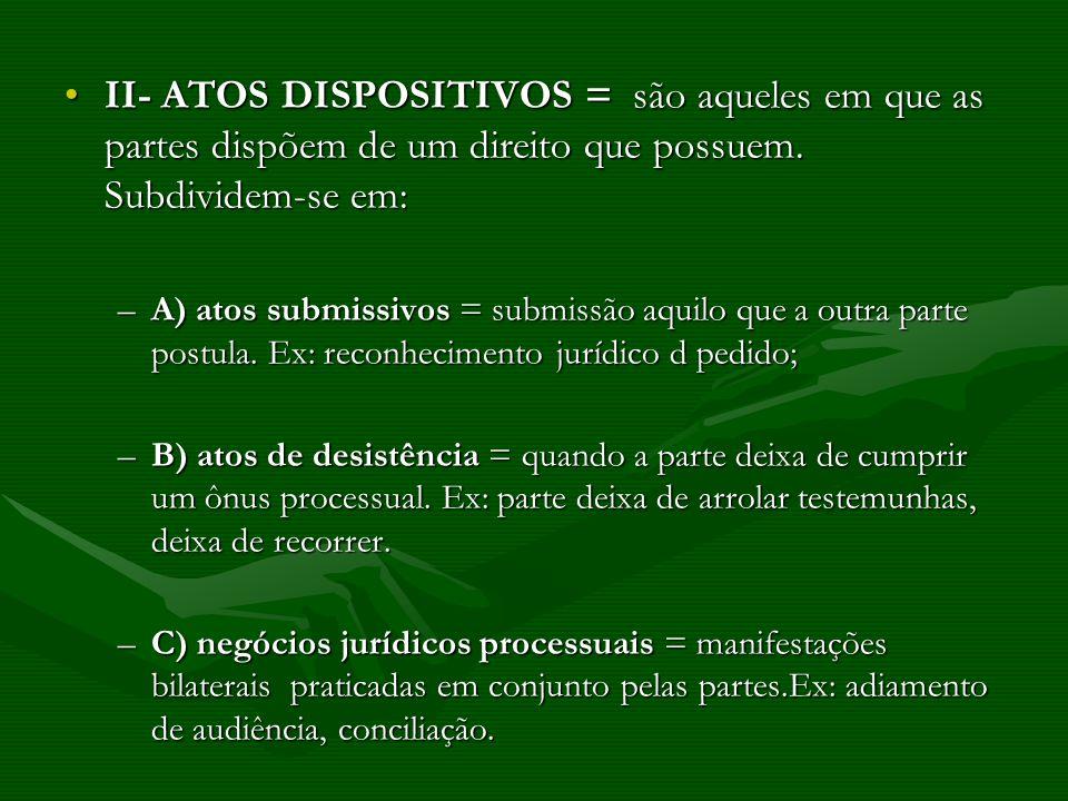 II- ATOS DISPOSITIVOS = são aqueles em que as partes dispõem de um direito que possuem. Subdividem-se em: