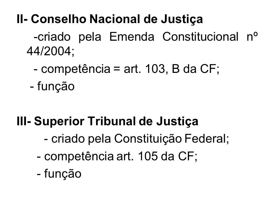 II- Conselho Nacional de Justiça