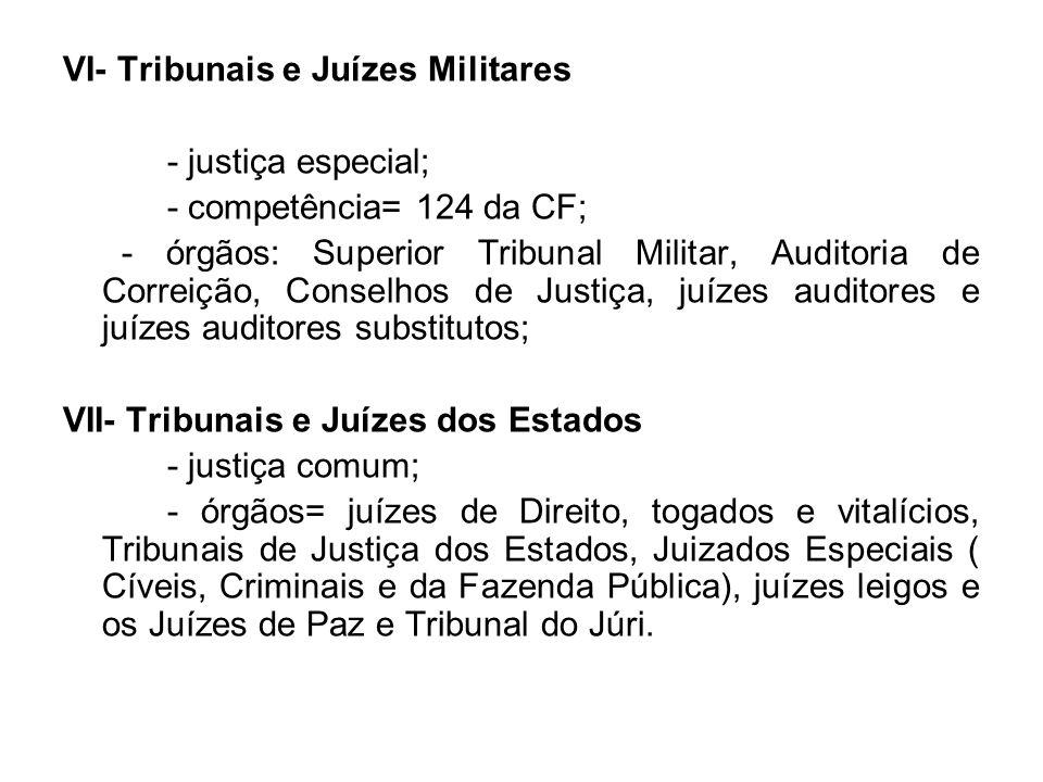 VI- Tribunais e Juízes Militares