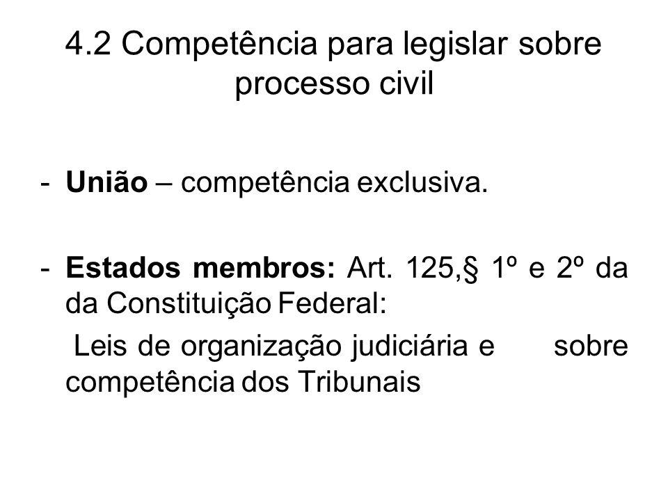 4.2 Competência para legislar sobre processo civil