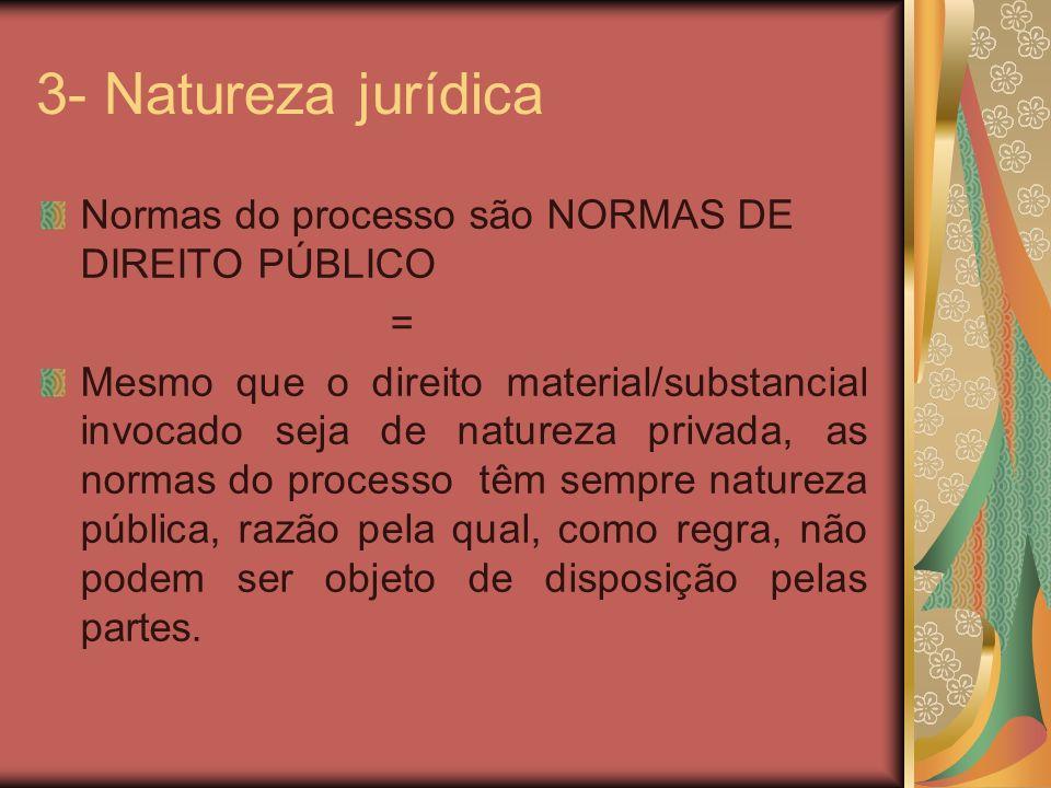 3- Natureza jurídica Normas do processo são NORMAS DE DIREITO PÚBLICO