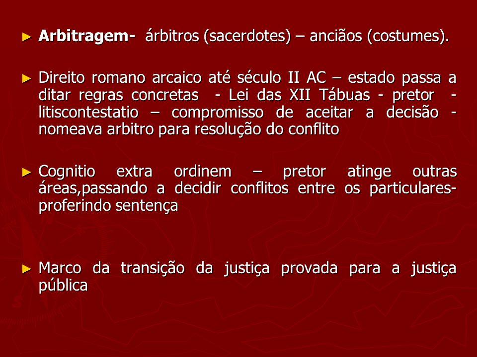 Arbitragem- árbitros (sacerdotes) – anciãos (costumes).