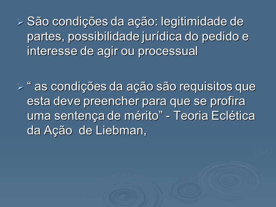 São condições da ação: legitimidade de partes, possibilidade jurídica do pedido e interesse de agir ou processual