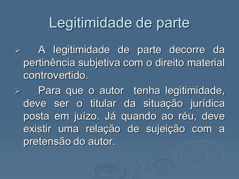 Legitimidade de parte A legitimidade de parte decorre da pertinência subjetiva com o direito material controvertido.
