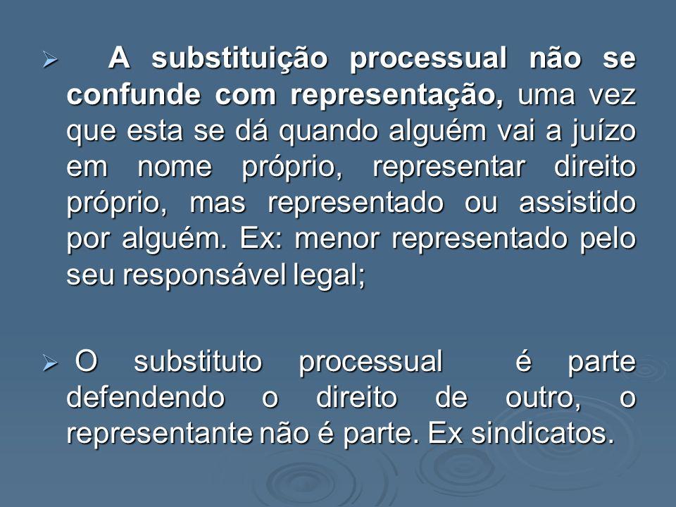 A substituição processual não se confunde com representação, uma vez que esta se dá quando alguém vai a juízo em nome próprio, representar direito próprio, mas representado ou assistido por alguém. Ex: menor representado pelo seu responsável legal;