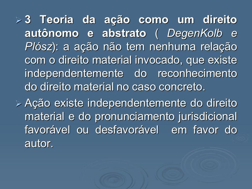 3 Teoria da ação como um direito autônomo e abstrato ( DegenKolb e Plósz): a ação não tem nenhuma relação com o direito material invocado, que existe independentemente do reconhecimento do direito material no caso concreto.