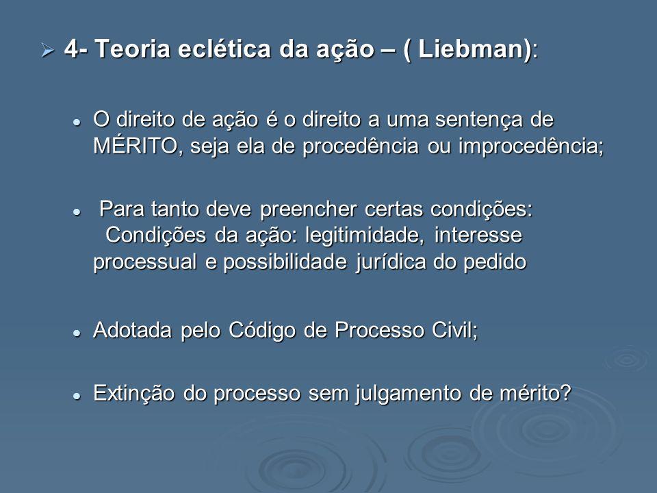 4- Teoria eclética da ação – ( Liebman):
