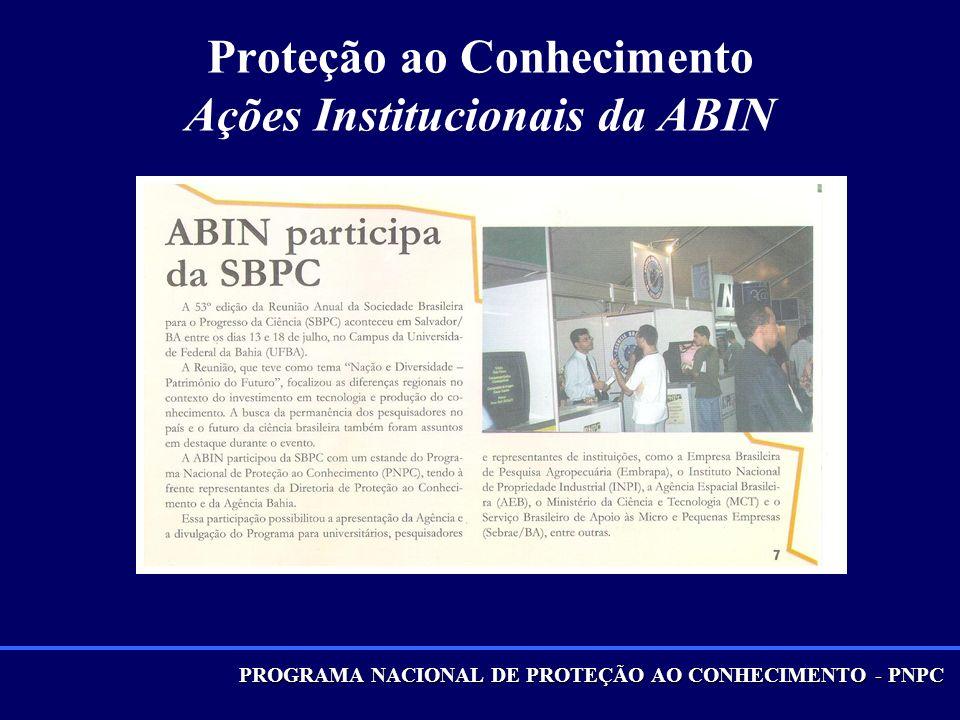 Proteção ao Conhecimento Ações Institucionais da ABIN