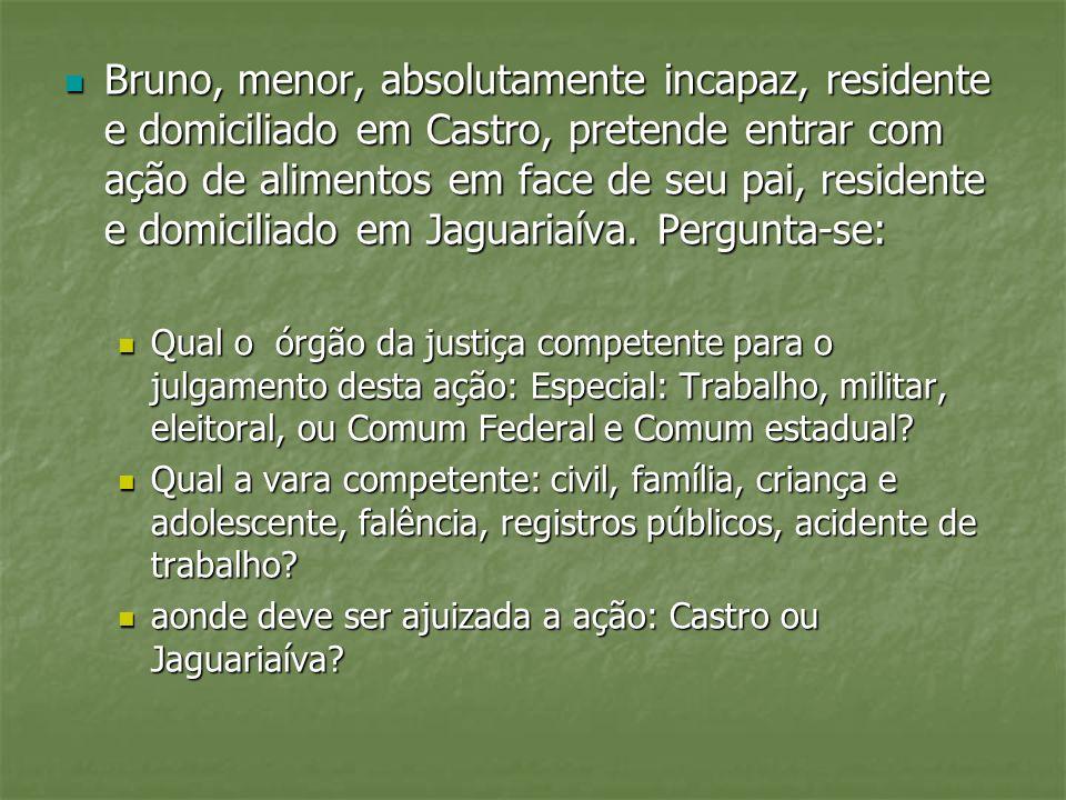 Bruno, menor, absolutamente incapaz, residente e domiciliado em Castro, pretende entrar com ação de alimentos em face de seu pai, residente e domiciliado em Jaguariaíva. Pergunta-se: