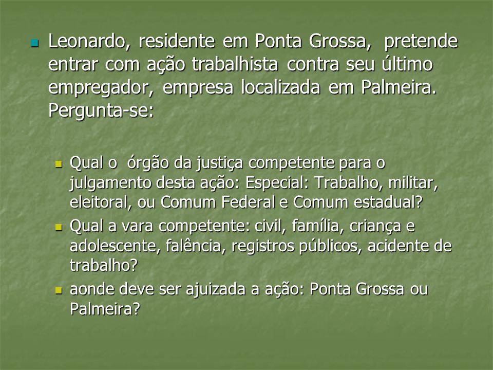 Leonardo, residente em Ponta Grossa, pretende entrar com ação trabalhista contra seu último empregador, empresa localizada em Palmeira. Pergunta-se:
