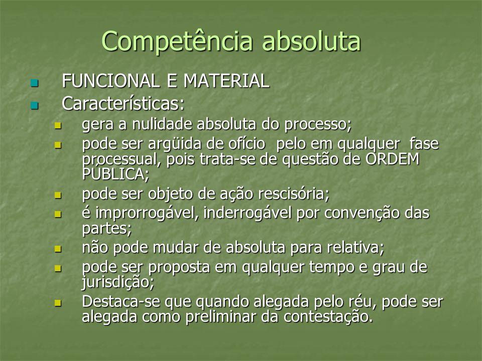 Competência absoluta FUNCIONAL E MATERIAL Características:
