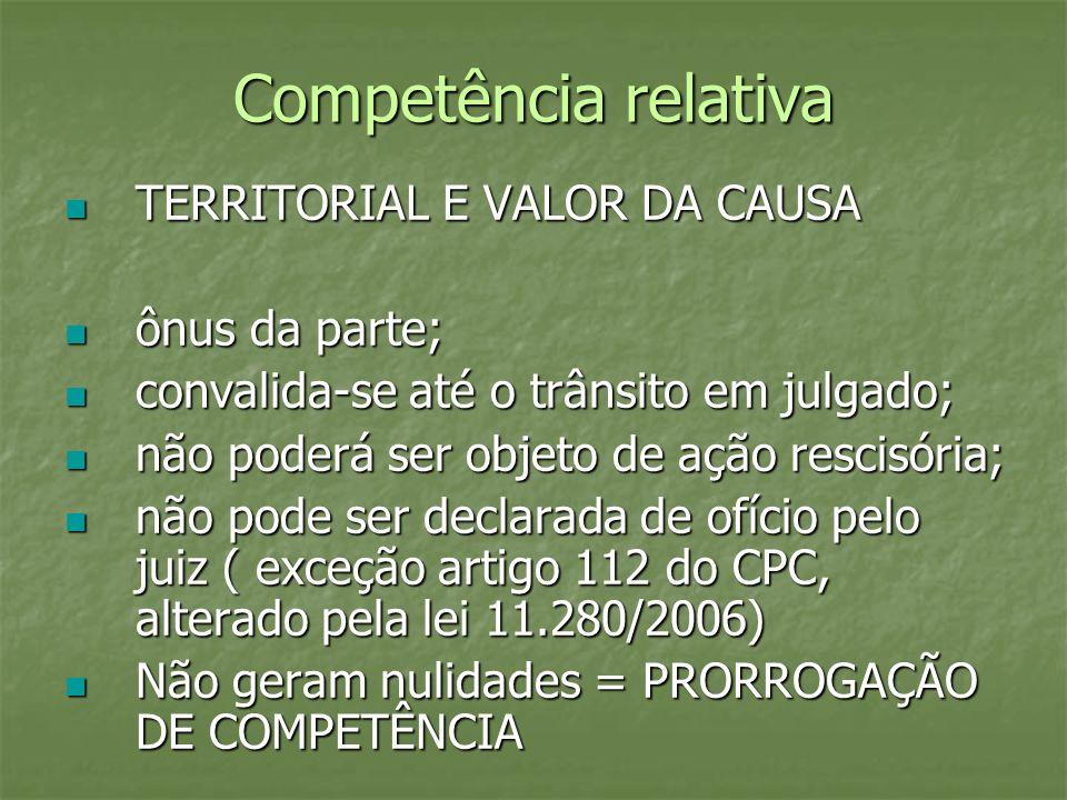 Competência relativa TERRITORIAL E VALOR DA CAUSA ônus da parte;