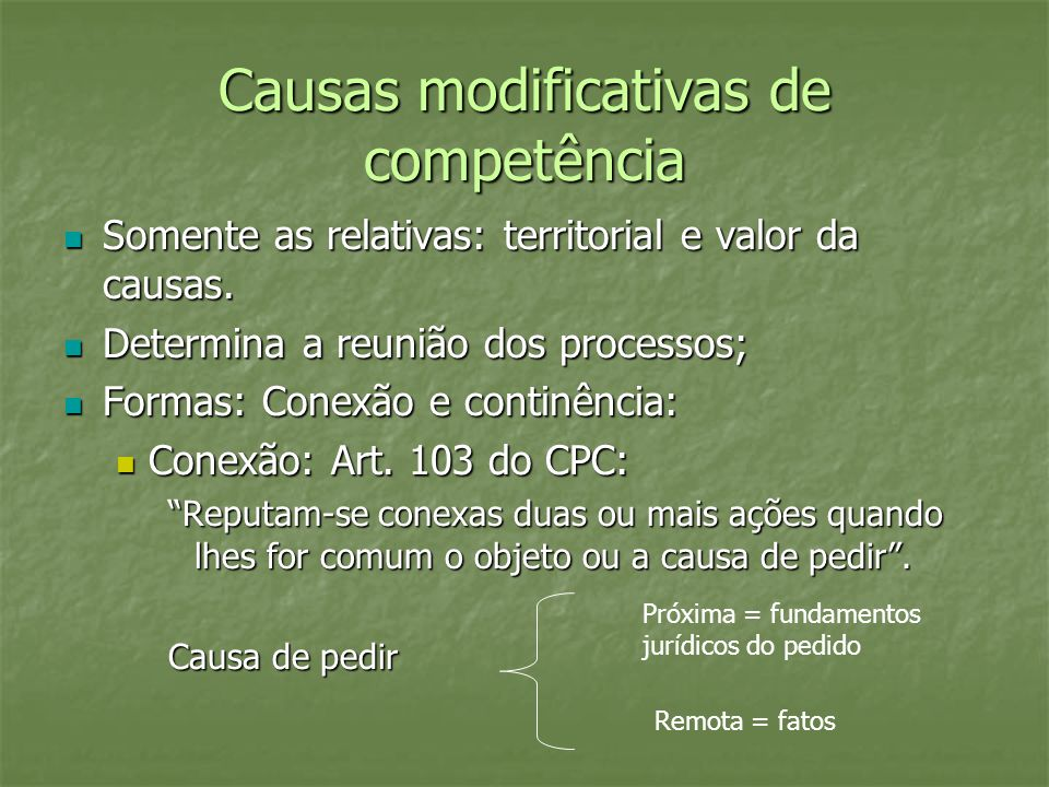 Causas modificativas de competência