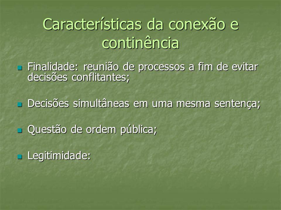 Características da conexão e continência