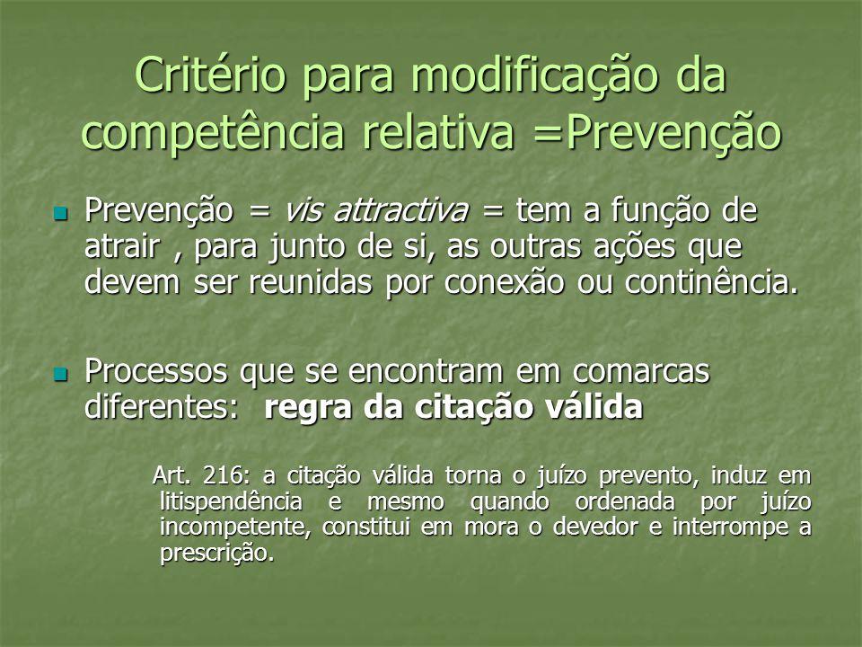 Critério para modificação da competência relativa =Prevenção
