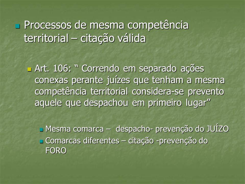 Processos de mesma competência territorial – citação válida