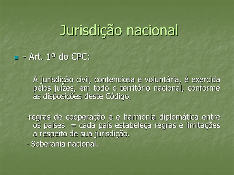 Jurisdição nacional - Art. 1º do CPC: