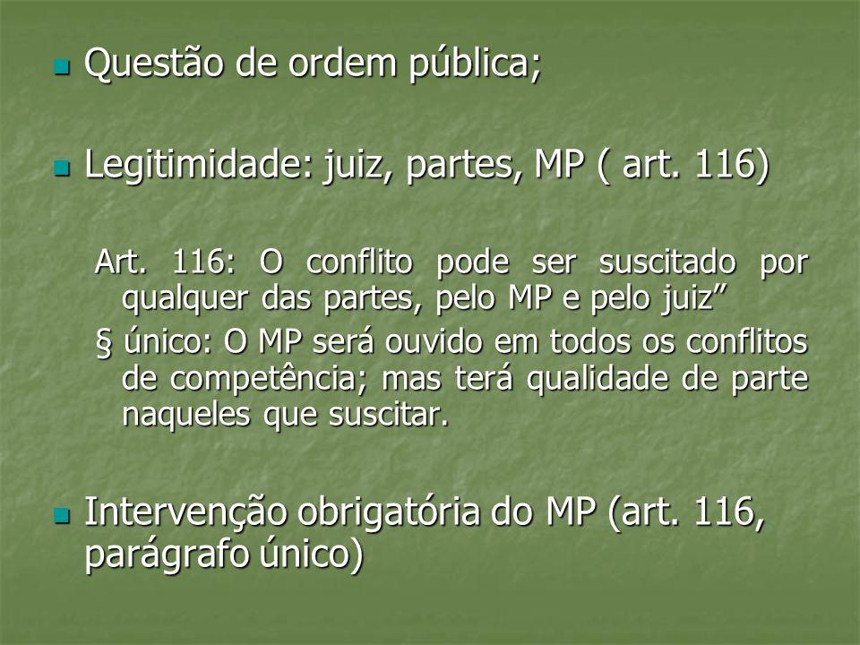 Questão de ordem pública; Legitimidade: juiz, partes, MP ( art. 116)