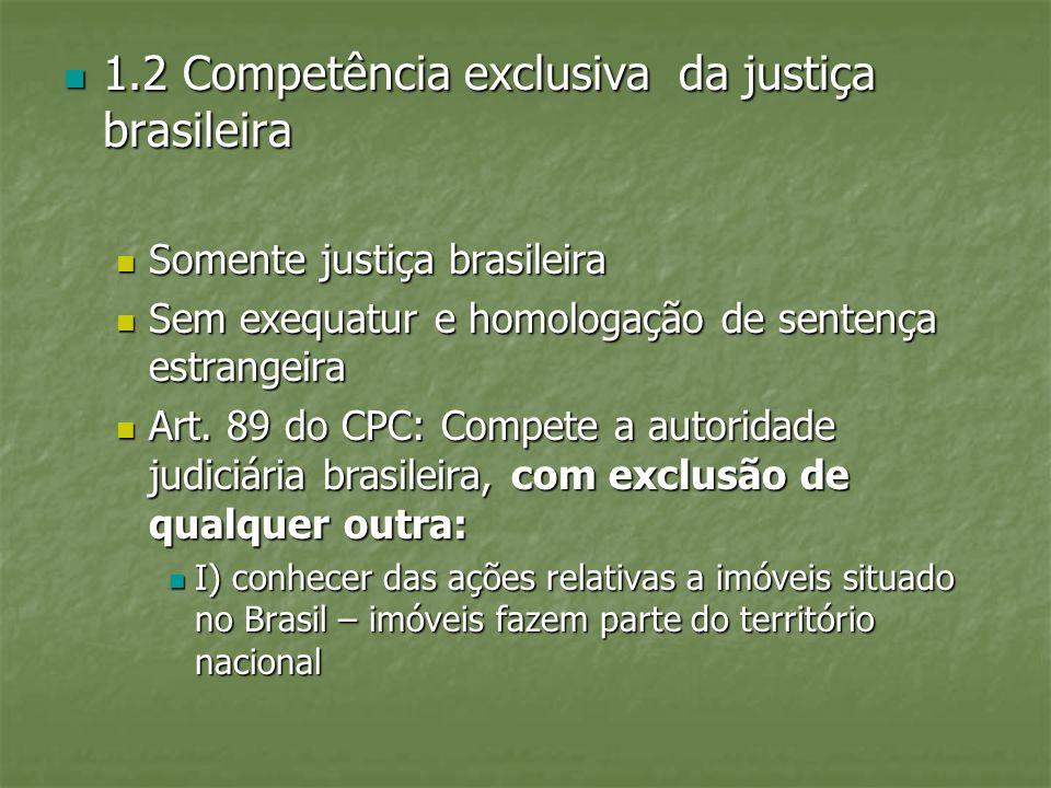 1.2 Competência exclusiva da justiça brasileira
