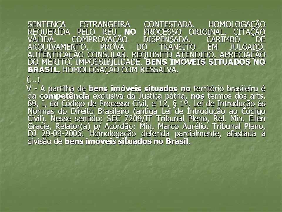 SENTENÇA ESTRANGEIRA CONTESTADA