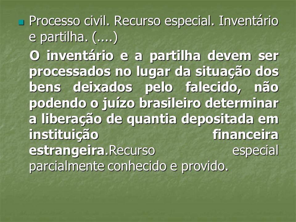 Processo civil. Recurso especial. Inventário e partilha. (....)