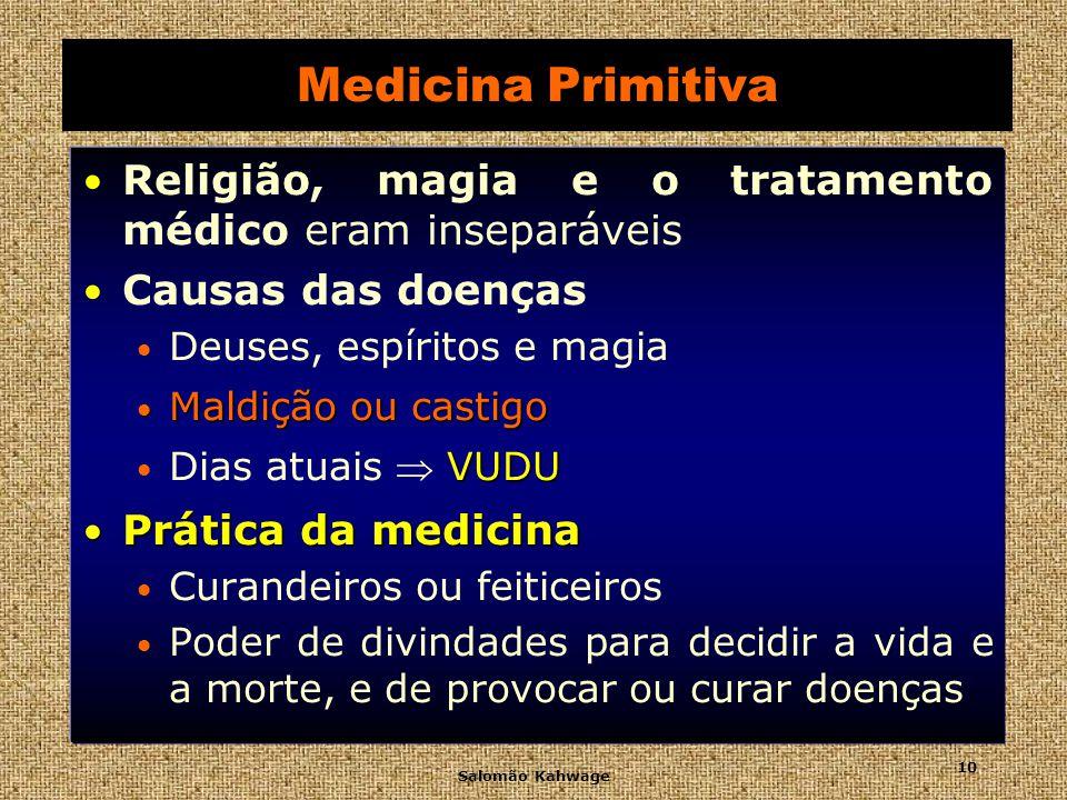 Medicina PrimitivaReligião, magia e o tratamento médico eram inseparáveis. Causas das doenças. Deuses, espíritos e magia.