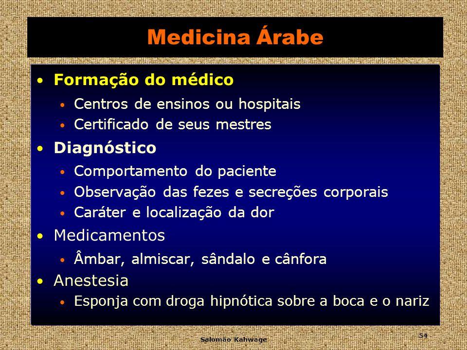 Medicina Árabe Formação do médico Diagnóstico Medicamentos Anestesia
