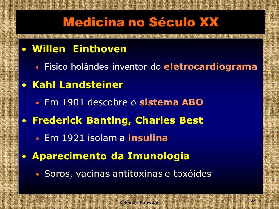 Medicina no Século XX Willen Einthoven Kahl Landsteiner