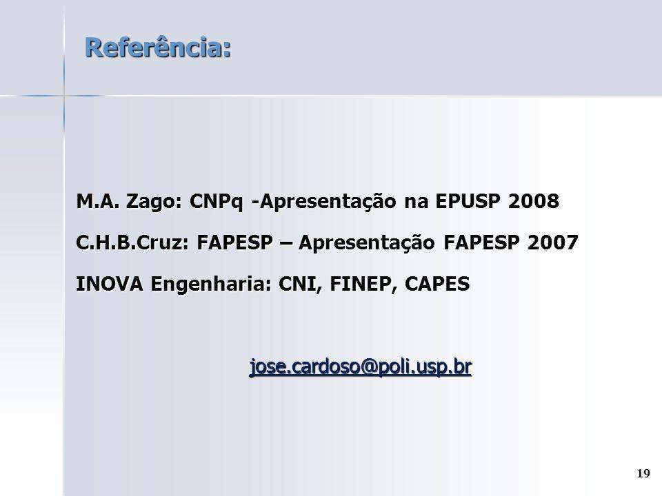 Referência: M.A. Zago: CNPq -Apresentação na EPUSP 2008